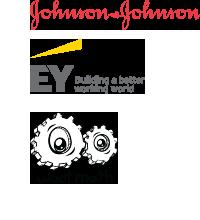 Logos of J&J, EY, WootMath