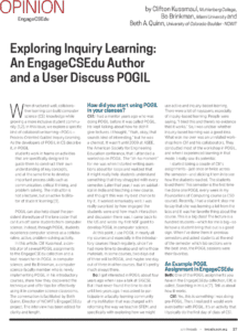 Exploring Inquiry Learning: An EngageCSEdu Author and a User Discuss POGIL