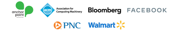 Anchor Point Foundation, Association for Computing Machinery (ACM), Bloomberg, Facebook, PNC, and Walmart.