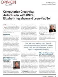 Computation Creativity: An Interview with UNL's Elizabeth Ingraham and Leen-Kiat Soh