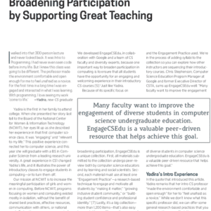 Broadening Participation by Supporting Great Teaching
