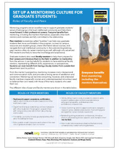 Set Up a Mentoring Culture for Graduate Students: Roles of Faculty and Peers