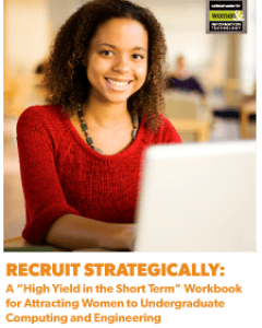 Image of workbook cover with woman using laptop
