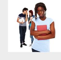 black teenage girl talking behind back