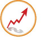 business graph up arrow less cushion