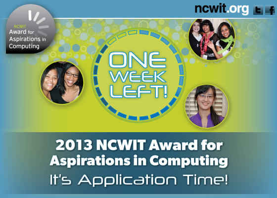 2013 NCWIT Award for Aspirations in Computing: One Week Left