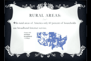 Rural Areas: In rural areas of America only 60 percent of households use broadband Internet service