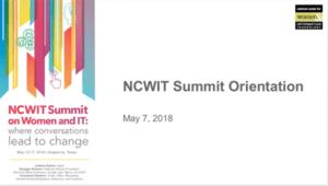 2018 NCWIT Summit Orientation