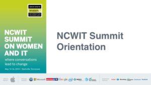 2019 NCWIT Summit Orientation