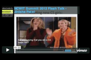ncwit summit 2012 flashtalk with jinisha patel video cover