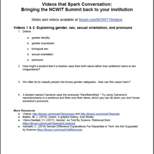 2019 NCWIT Summit Academic Alliance Meeting – Videos Handout