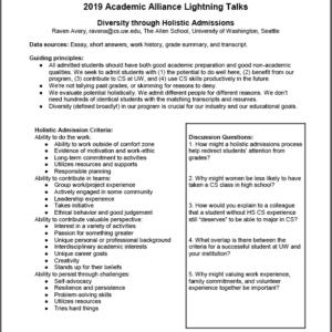 2019 NCWIT Summit Academic Alliance Meeting – Flash Talk Handout