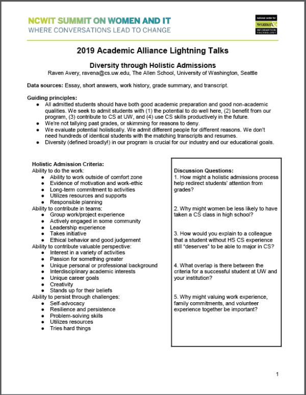 2019 NCWIT Summit Academic Alliance Meeting - Flash Talk Handout