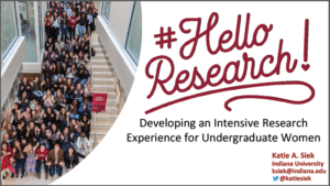 2019 NCWIT Summit Academic Alliance Meeting – Hello Research: Developing an Intensive Research Experience for Undergraduate Women by Katie A. Siek