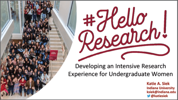 2019 NCWIT Summit Academic Alliance Meeting - Hello Research: Developing an Intensive Research Experience for Undergraduate Women by Katie A. Siek