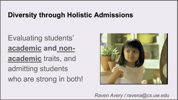 2019 NCWIT Summit Academic Alliance Meeting - Diversity through Holistic Admissions by Raven Avery