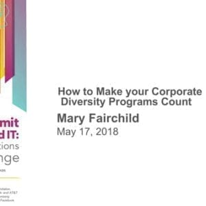 """2018 NCWIT Summit – """"How to Make Your Corporate Diversity Programs Count"""" Workshop by Mary Fairchild"""