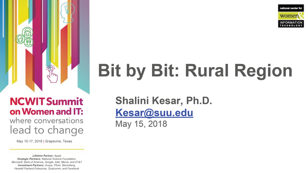 """2018 NCWIT Summit - """"Reaching Rural and Remote Areas Bit by Bit! How to Connect Rural Populations With Resources and Opportunities for Computing Education"""" Workshop by Shalini Kesar"""