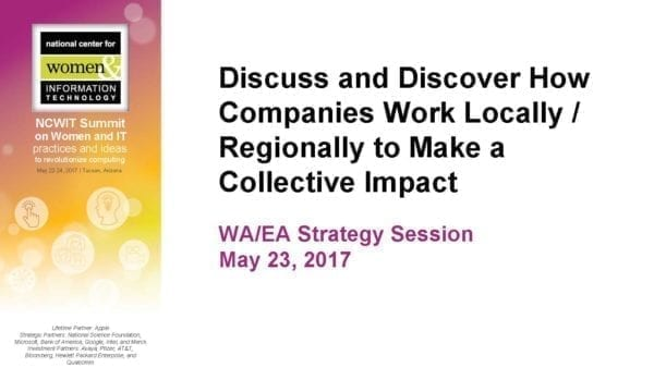 """2017 NCWIT Summit - """"Workforce/Entrepreneurial Alliance Members Discuss and Discover How Companies Work Locally/Regionally to Make a Collective Impact"""" Conversation by Lecia Barker and Judith Spitz"""