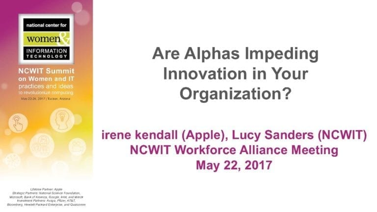 """2017 NCWIT Summit - """"Are Alphas Impeding Innovation in Your Organization?"""" WA/EA Workshop by irene kendall  and Lucy Sanders"""