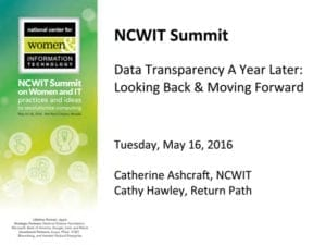 """2016 NCWIT Summit — """"Data Transparency a Year Later: Looking Backand Moving Forward"""" NCWIT Empower Hour"""
