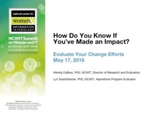"""2016 NCWIT Summit — """"How Do You Know If You've Made an Impact? Learn to Evaluate Your Change Efforts"""" NCWIT Empower Hour"""