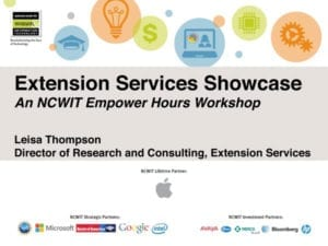 "2015 NCWIT Summit — ""NCWIT Extension Services: Client Showcase"" Empower Hour"