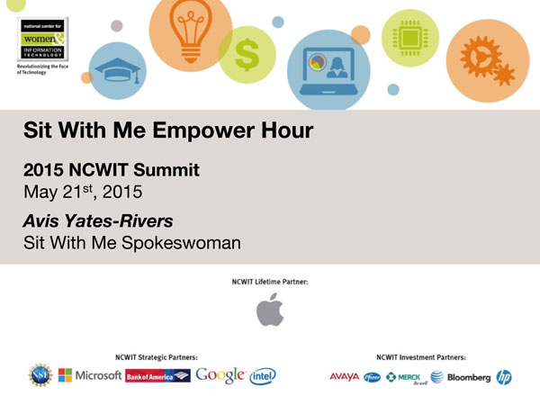 """2015 NCWIT Summit — """"Sit With Me"""" Empower Hour"""