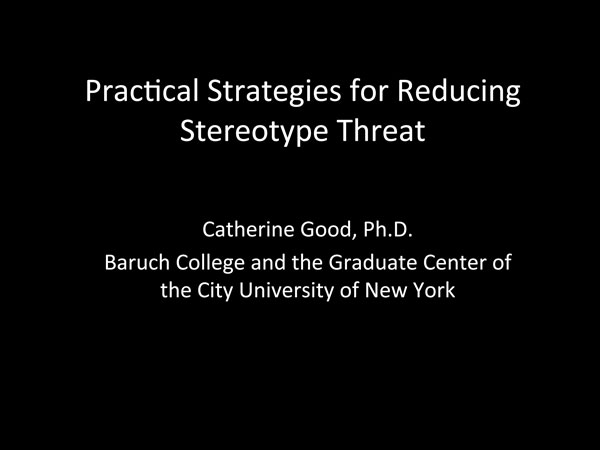2015 NCWIT Summit — Workshop Slides by Dr. Catherine Good